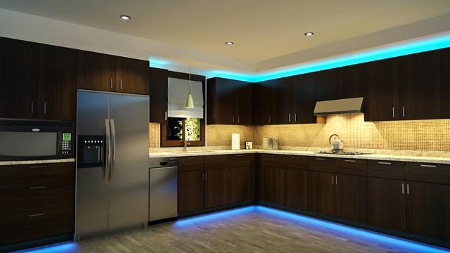 Подсветка кухни светодиодами фото